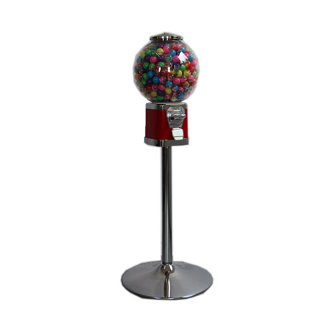 Metal body Red color Warranty 1 year Finished chrome 1~6 coins operated  candy vending machine